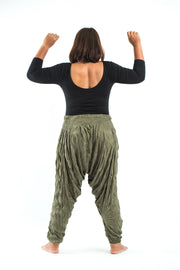 Plus Size Unisex Crinkled Cotton Harem Pants in Green