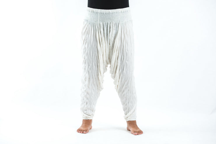 Plus Size Unisex Crinkled Cotton Harem Pants in White