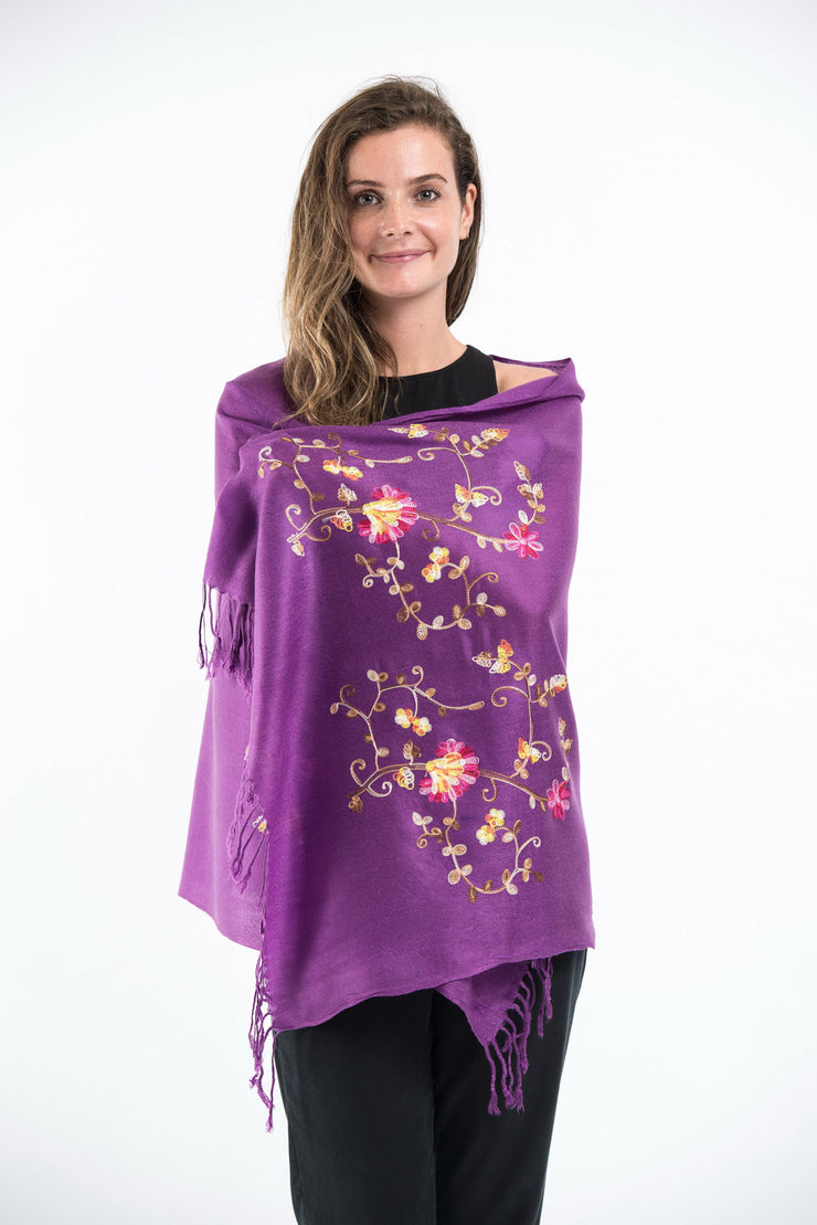 Nepal Floral Embroidered Pashmina Shawl Scarf in Purple