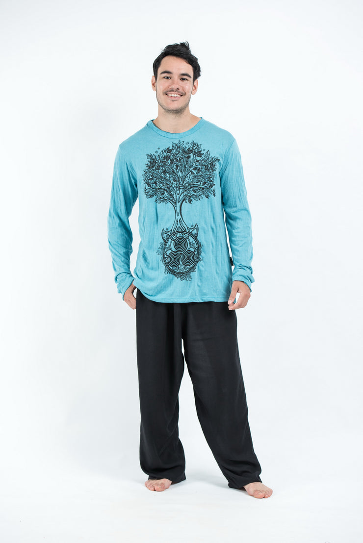 Unisex Celtic Tree Long Sleeve T-Shirt in Turquoise