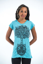 Womens Celtic Tree T-Shirt in Turquoise