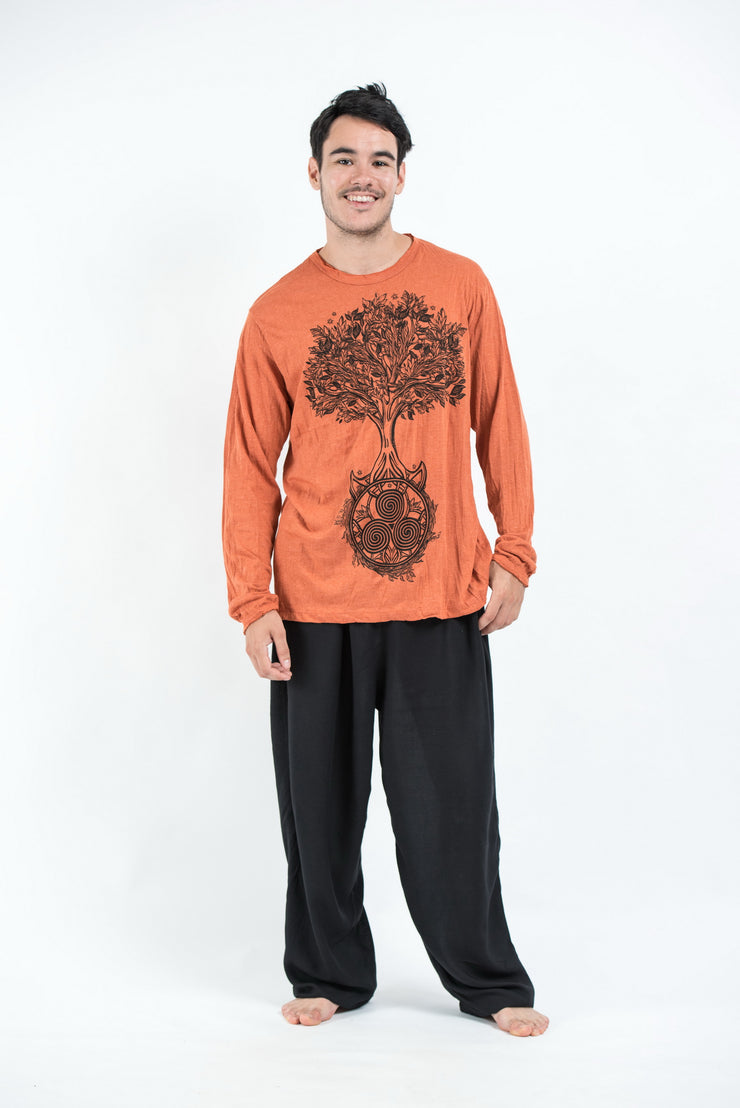 Unisex Celtic Tree Long Sleeve T-Shirt in Orange