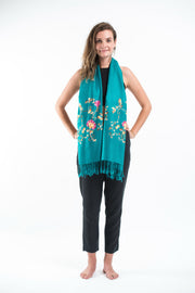 Nepal Floral Embroidered Pashmina Shawl Scarf in Turquoise