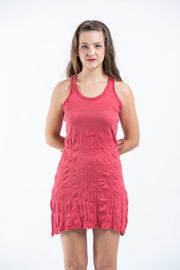 Womens Solid Color Tank Dress in Red