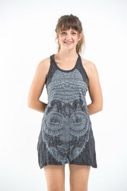 Womens Buddha Head Tank Dress in Silver on Black