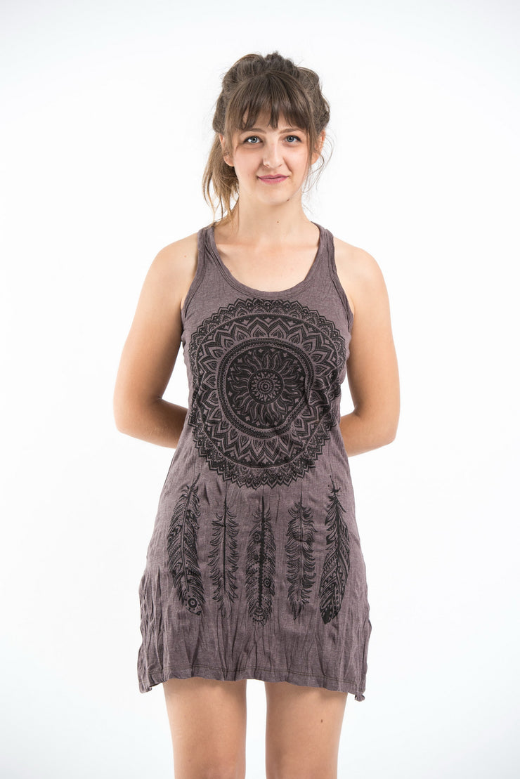 Womens Dreamcatcher Tank Dress in Brown
