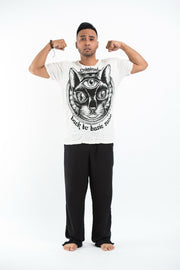 Mens Three Eyed Cat T-Shirt in White