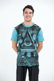 Mens All Seeing Eye T-Shirt in Turquoise