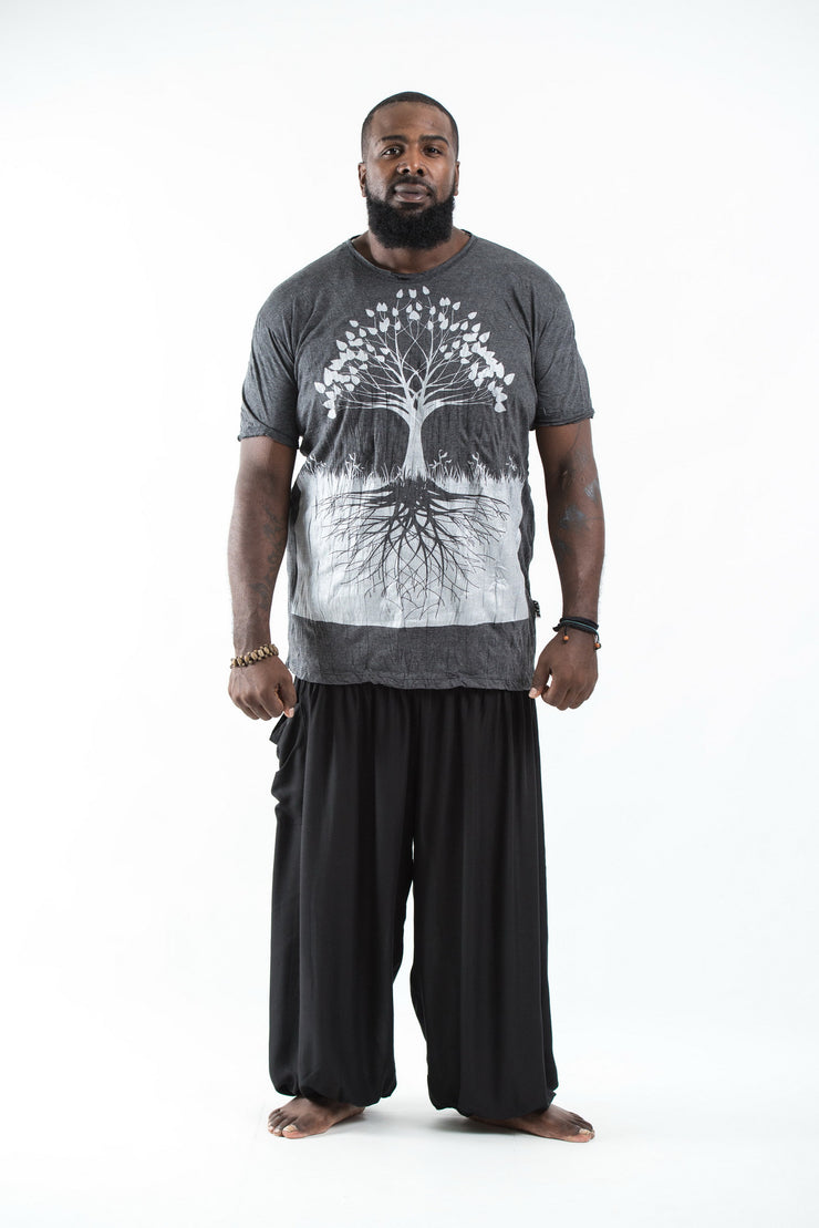 Plus Size Mens Tree of Life T-Shirt in Silver on Black
