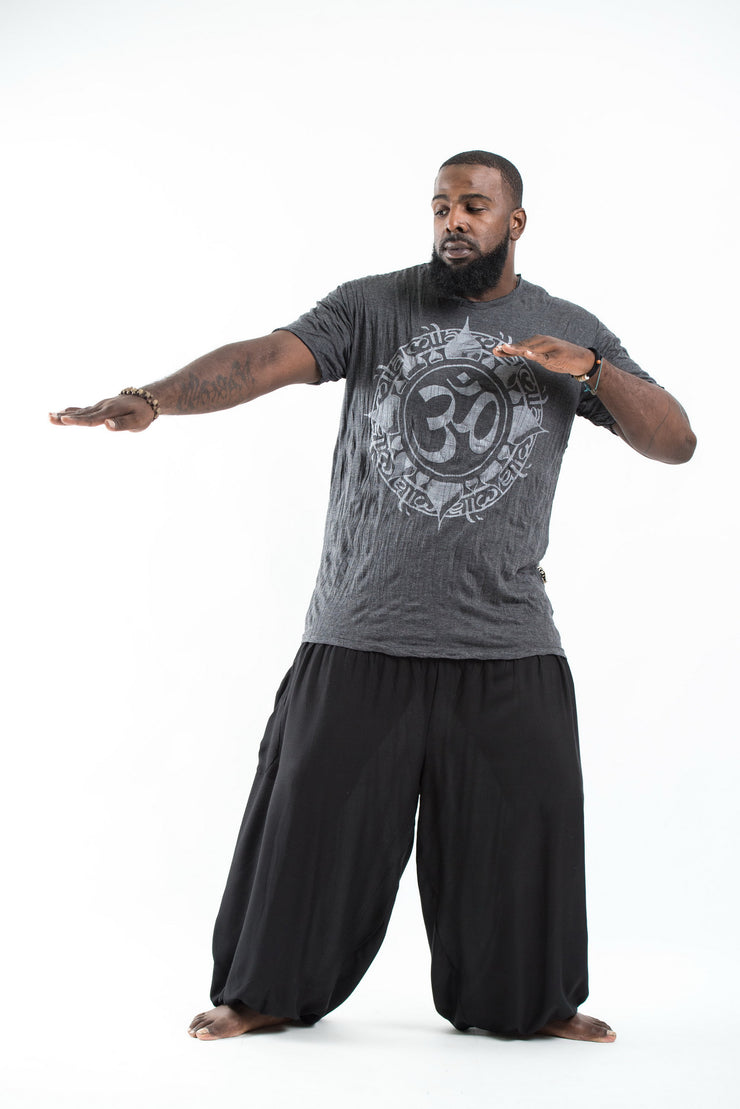 Plus Size Mens Infinitee Om T-Shirt in Silver on Black
