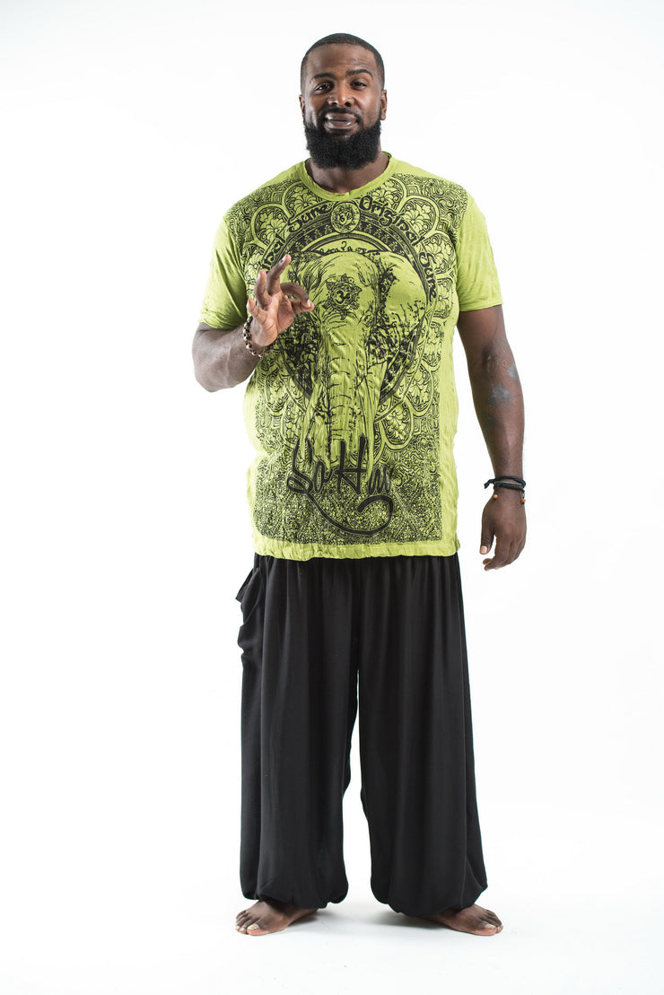 Plus Size Mens Wild Elephant T-Shirt in Lime