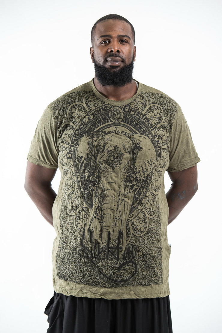 Plus Size Mens Wild Elephant T-Shirt in Green