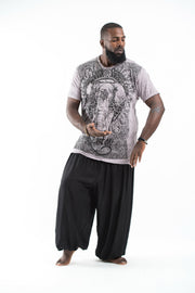Plus Size Mens Wild Elephant T-Shirt in Gray