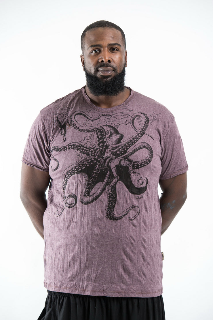 Plus Size Mens Octopus T-Shirt in Brown