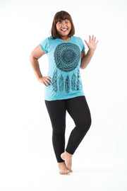 Plus Size Womens Dreamcatcher T-Shirt in Turquoise