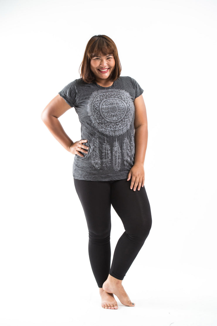 Plus Size Womens Dreamcatcher T-Shirt in Silver on Black