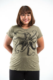 Plus Size Womens Octopus T-Shirt in Green