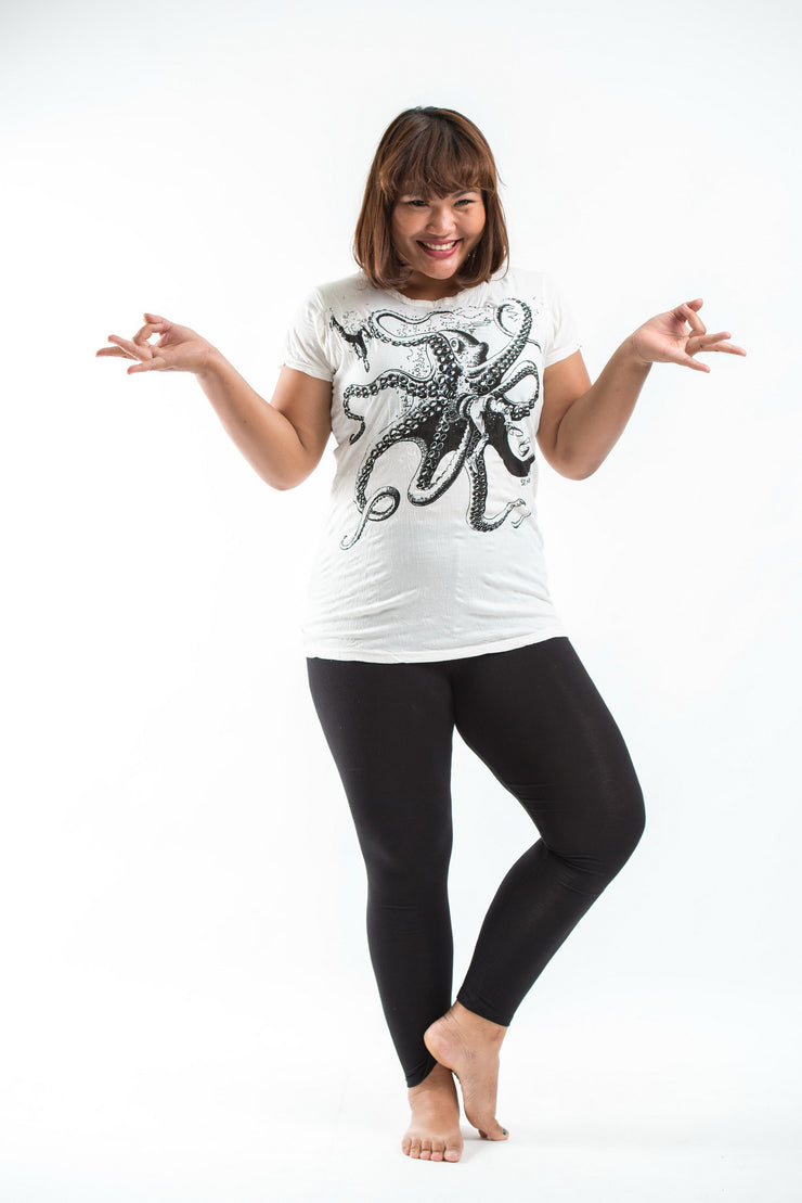 Plus Size Womens Octopus T-Shirt in White