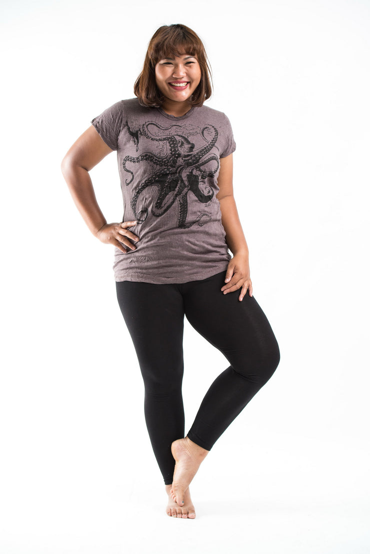 Plus Size Womens Octopus T-Shirt in Brown