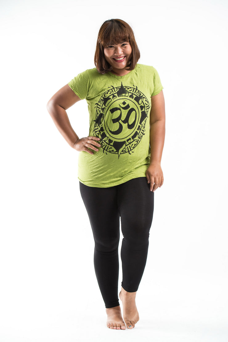 Plus Size Womens Infinitee Om T-Shirt in Lime