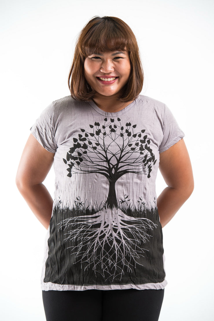 Plus Size Womens Tree of Life T-Shirt in Gray