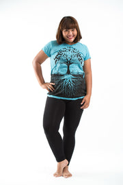 Plus Size Womens Tree of Life T-Shirt in Turquoise