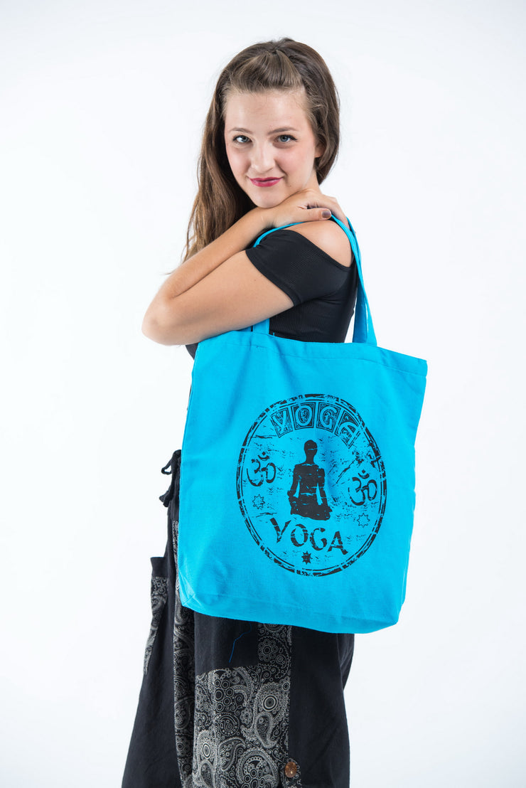 Yoga Cotton Tote Bag in Blue