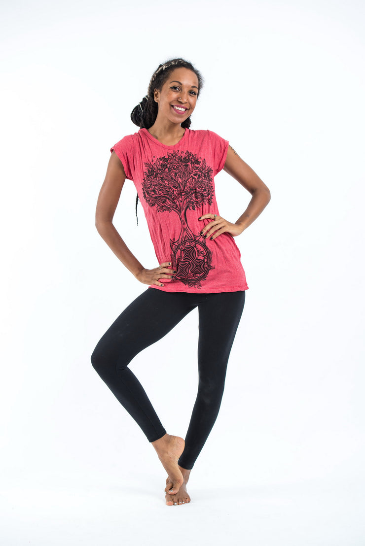 Womens Celtic Tree T-Shirt in Red