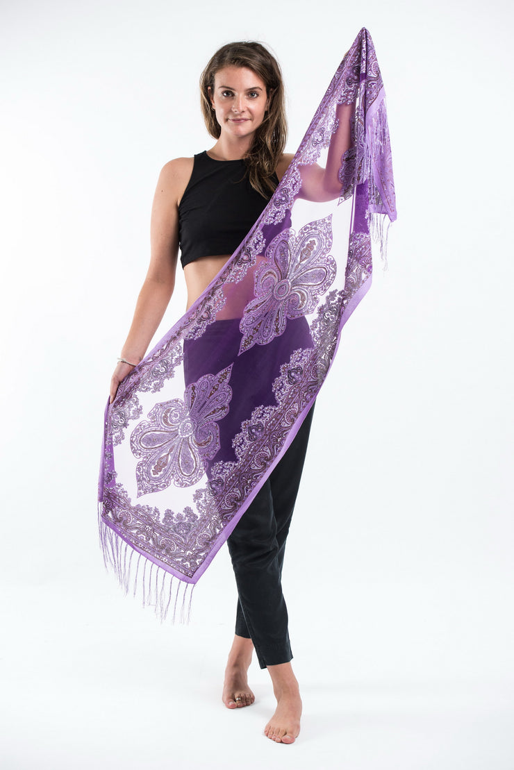 Nepal Paisley Lace Shawl Scarf in Purple