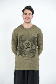 Unisex Om and Koi Fish Long Sleeve T-Shirt in Green