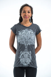Womens Celtic Tree T-Shirt in Silver on Black