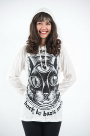 Unisex Three Eyed Cat Hoodie in White