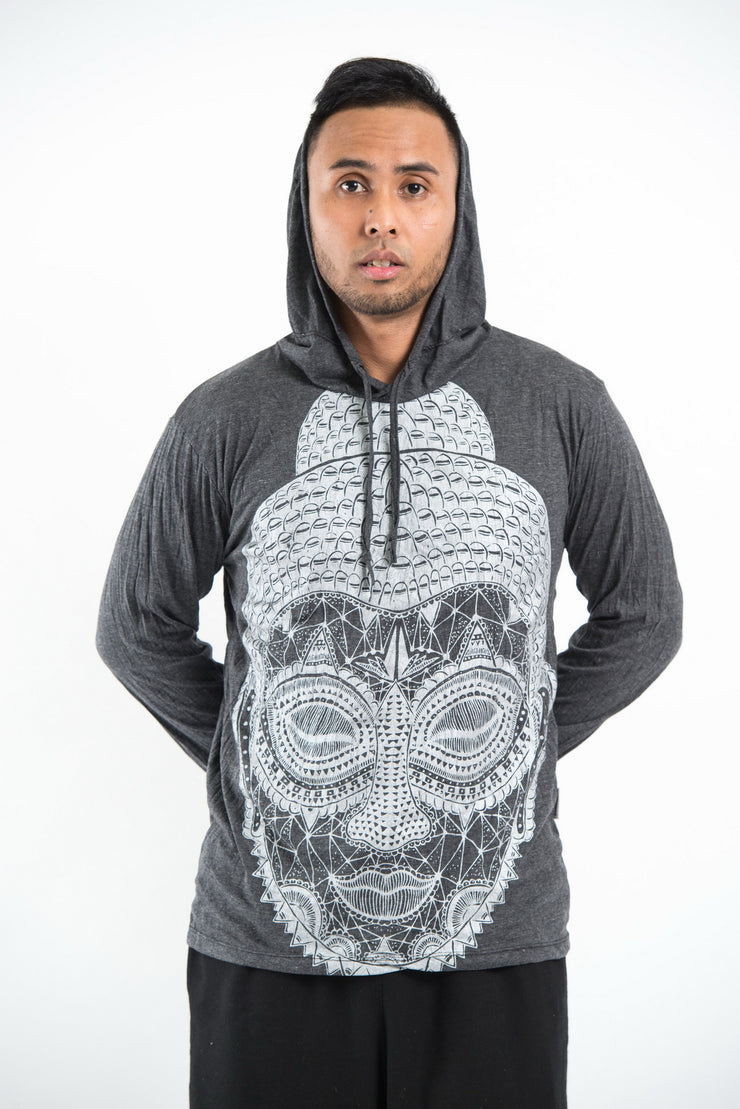 Unisex Buddha Head Hoodie in Silver on Black