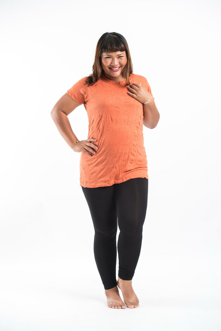 Plus Size Womens Solid Color T-Shirt in Orange