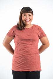 Plus Size Womens Solid Color T-Shirt in Brick