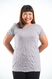 Plus Size Womens Solid Color T-Shirt in Gray