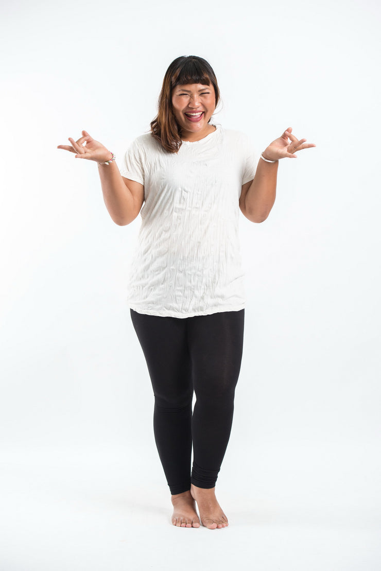 Plus Size Womens Solid Color T-Shirt in White