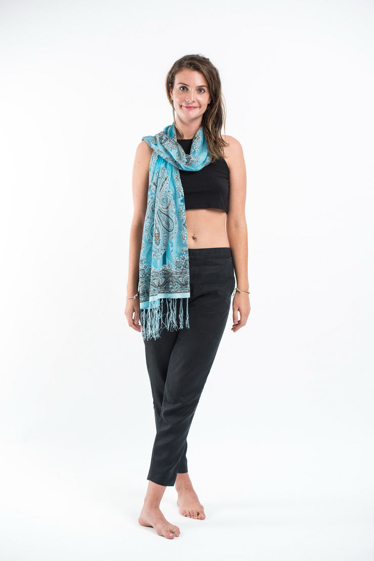 Nepal Paisley Lace Shawl Scarf in Blue