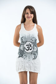Womens Om and Koi fish Tank Dress in White