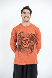 Unisex Om and Koi Fish Long Sleeve T-Shirt in Orange