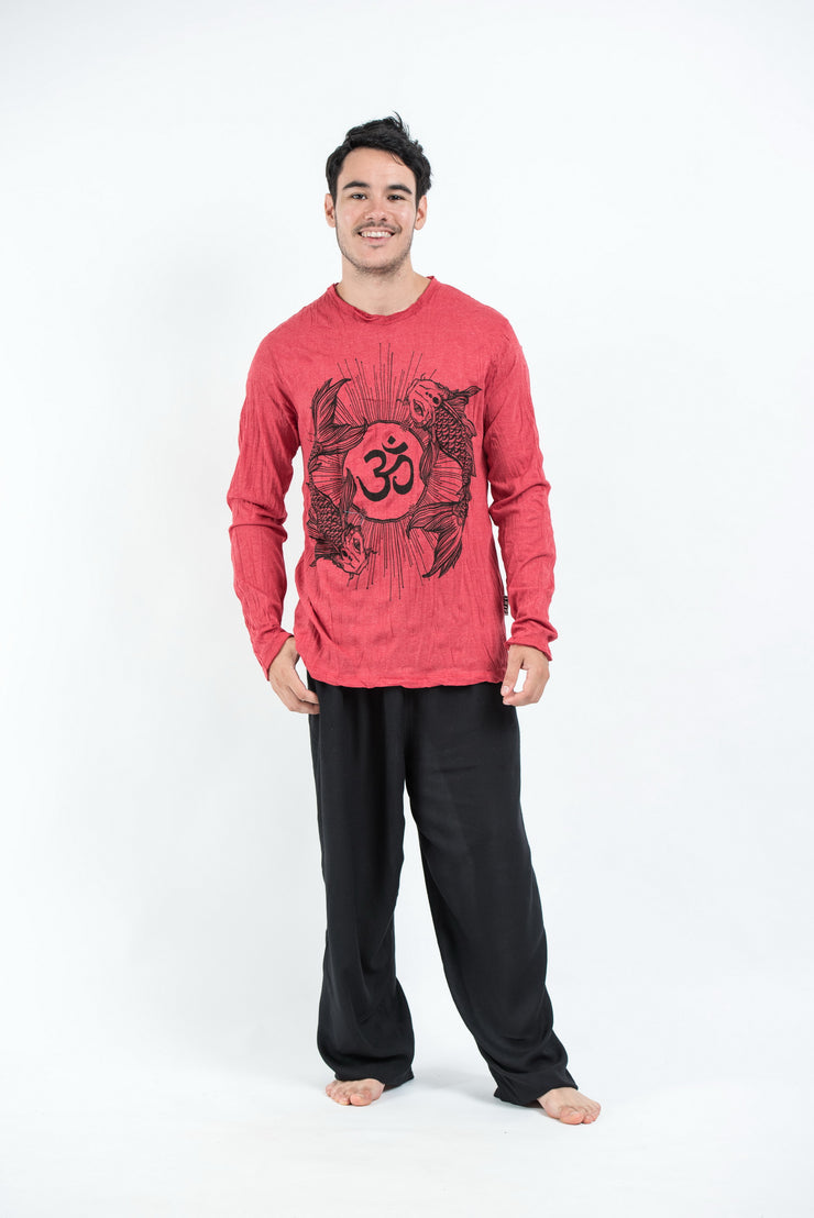 Unisex Om and Koi Fish Long Sleeve T-Shirt in Red