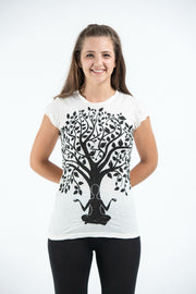 Womens Meditation Tree T-Shirt in White