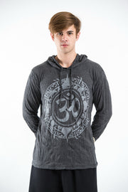 Unisex Infinitee Om Hoodie in Silver on Black