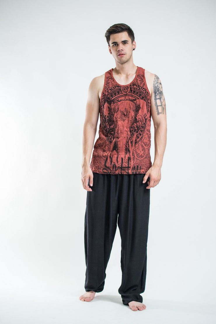 Mens Wild Elephant Tank Top in Brick