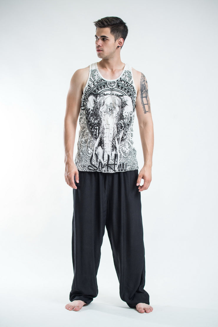Mens Wild Elephant Tank Top in White