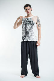 Mens Lions Eye Tank Top in White