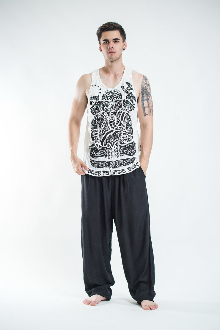 Mens Tattoo Ganesh Tank Top in White