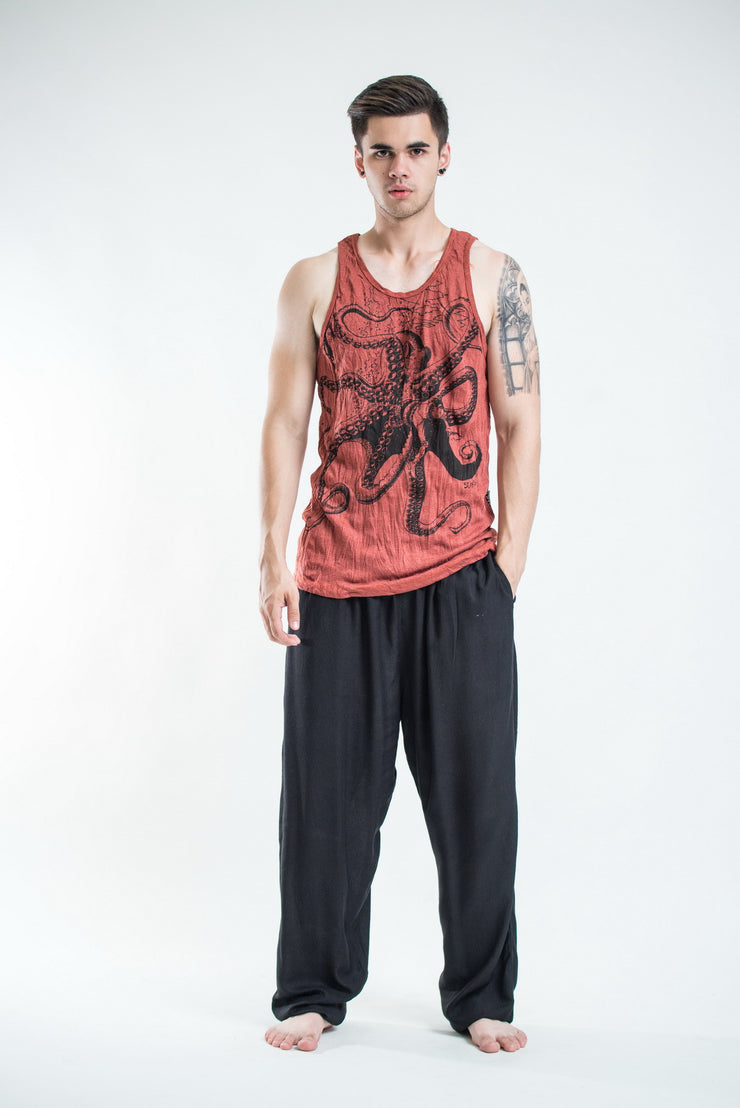 Mens Octopus Tank Top in Brick