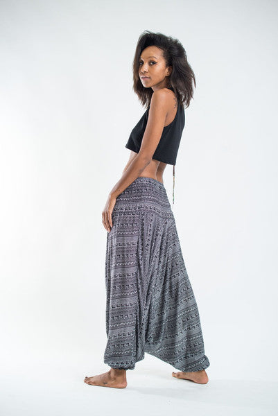 Unisex Aztec Stripes Drop Crotch Jumpsuit Harem Pants in Gray