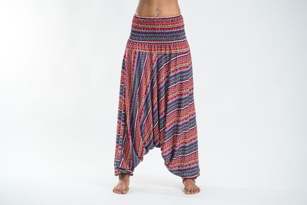 Unisex Aztec Stripes Drop Crotch Jumpsuit Harem Pants in Peach